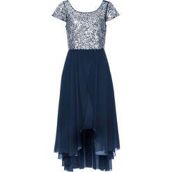 Sukienka wieczorowa bonprix ciemnoniebiesko-srebrny. Niebieskie długie sukienki marki bonprix, z szyfonu, wizytowe, z długim rękawem, rozkloszowane. Za 179,99 zł.