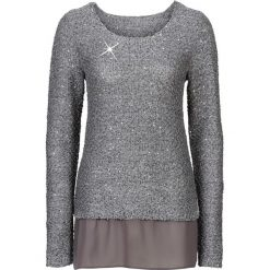 Swetry klasyczne damskie: Sweter z cekinami bonprix szary melanż