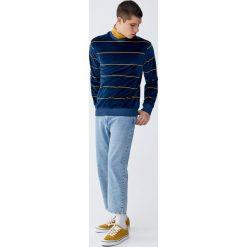 Aksamitna bluza w paski. Szare bluzy męskie marki Pull&Bear, m, w paski. Za 139,00 zł.