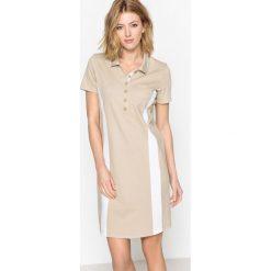Długie sukienki: Sukienka z krótkim rękawem z pikowanej dzianiny