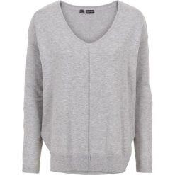 Sweter w serek bonprix jasnoszary melanż. Szare swetry oversize damskie bonprix. Za 74,99 zł.
