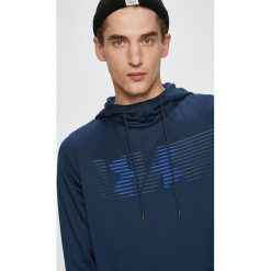 Under Armour - Bluza. Niebieskie bluzy męskie rozpinane Under Armour, l, z nadrukiem, z dzianiny, z kapturem. Za 259,90 zł.