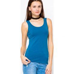 Bluzki damskie: Bluzka basic na szerokich ramiączkach niebieska
