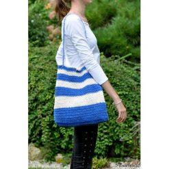 Szydełkowa torba w stylu marynarskim. Niebieskie torebki klasyczne damskie Pakamera, z bawełny. Za 129,00 zł.