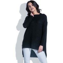 Czarny Sweter w Prążek z Dłuższym Tyłem. Czarne swetry oversize damskie Molly.pl, m. W wyprzedaży za 83,93 zł.