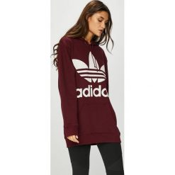 Adidas Originals - Bluza. Brązowe bluzy rozpinane damskie adidas Originals, z nadrukiem, z bawełny, z kapturem. W wyprzedaży za 259,90 zł.