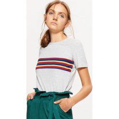 Bluzki, topy, tuniki: Koszulka z tęczowymi paskami - Jasny szary