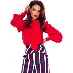 Bluzki damskie: Czerwona Bluzka z Fantazyjnym Wiązaniem