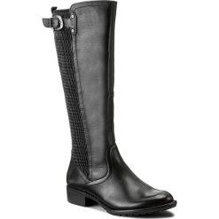 Oficerki TAMARIS - 1-25578-39 Black 001. Czarne buty zimowe damskie marki Tamaris, z materiału, na obcasie. W wyprzedaży za 269,00 zł.