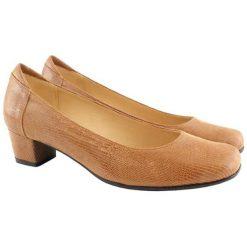 Buty ślubne damskie: Skórzane czółenka w kolorze jasnobrązowym