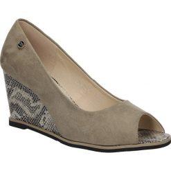 Półbuty beżowe na koturnie Casu HX1735-15. Brązowe buty ślubne damskie marki Casu, na koturnie. Za 59,99 zł.