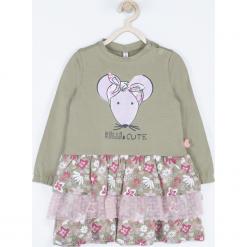 Sukienka. Szare sukienki dziewczęce BELLE & CUTE, z aplikacjami, z bawełny, z długim rękawem, długie. Za 69,90 zł.