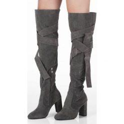 Grafitowe Kozaki Mayon. Szare buty zimowe damskie marki Born2be, za kolano, na wysokim obcasie, na słupku. Za 79,99 zł.