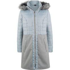 Płaszcz zimowy pikowany w połączeniu różnych materiałów bonprix srebrnoszary. Szare płaszcze damskie pastelowe bonprix, na zimę, z materiału. Za 239,99 zł.