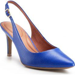 Szpilki ze skóry licowej 86-D-559-7. Niebieskie szpilki marki Wittchen, z lakierowanej skóry, na wysokim obcasie. Za 299,00 zł.