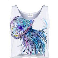 Colour Pleasure Koszulka damska CP-035 59 biało-niebieska r. M-L. Różowe bluzki damskie marki Colour pleasure. Za 64,14 zł.