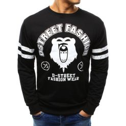 Bluzy męskie: Bluza męska z nadrukiem czarna (bx3372)