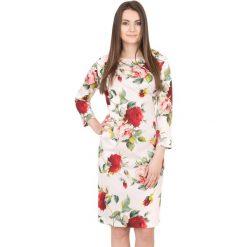 Różowa sukienka w kwiaty BIALCON. Czerwone sukienki koktajlowe marki BIALCON, w kwiaty, midi, dopasowane. W wyprzedaży za 168,00 zł.