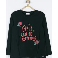 Koszulka. Czarne bluzki dziewczęce bawełniane GIRL POWER, z aplikacjami, z długim rękawem. Za 55,90 zł.
