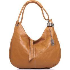Torebki klasyczne damskie: Skórzana torebka w kolorze jasnobrązowym – 38 x 34 x 10 cm