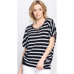 Granatowy T-shirt Sales Response. Niebieskie t-shirty damskie marki Born2be, m, z aplikacjami, z okrągłym kołnierzem. Za 24,99 zł.