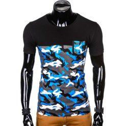 T-SHIRT MĘSKI Z NADRUKIEM S1007 - NIEBIESKI/MORO. Niebieskie t-shirty męskie z nadrukiem Ombre Clothing, m. Za 35,00 zł.