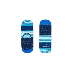 Skarpetki Happy Socks - Stripes & Dots Liner (SDO06-6003). Szare skarpetki męskie Happy Socks, w kolorowe wzory, z bawełny. Za 27,90 zł.