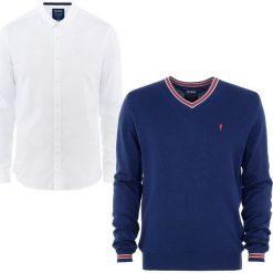 ZESTAW SWETER + KOSZULA. Białe koszule męskie na spinki marki Reserved, l. Za 259,90 zł.