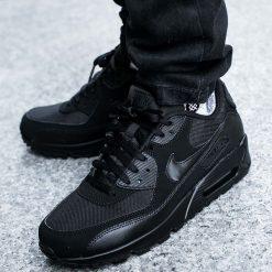 """BUTY NIKE AIR MAX 90 ESSENTIAL """"ALL BLACK"""" (537384-090). Czarne buty skate męskie Nike, z materiału, nike air max. Za 479,99 zł."""
