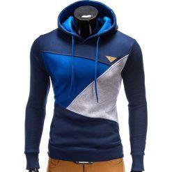 BLUZA MĘSKA Z KAPTUREM B342 - GRANATOWA. Niebieskie bejsbolówki męskie Ombre Clothing, m, z bawełny, z kapturem. Za 79,00 zł.