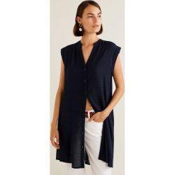 Mango - Koszula Confi. Szare koszule damskie Mango, l, w paski, z materiału, z krótkim rękawem. Za 119,90 zł.