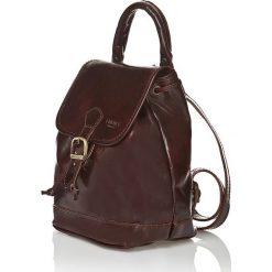 Plecaki damskie: Skórzany plecak w kolorze ciemnobrązowym – 25 x 22 x 15 cm