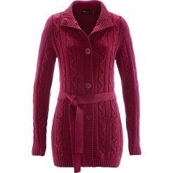 Długi sweter rozpinany bonprix czerwony klonowy. Zielone swetry rozpinane damskie marki bonprix, w kropki, z kopertowym dekoltem, kopertowe. Za 109,99 zł.