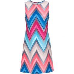 Sukienki: Sukienka z nadrukiem bonprix różowo-niebiesko-szary wzorzysty