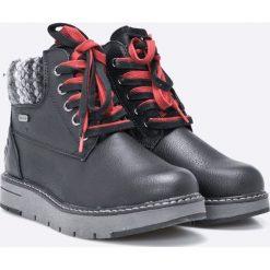 Marco Tozzi - Botki. Szare buty zimowe damskie marki Marco Tozzi, z materiału, z okrągłym noskiem, na sznurówki. W wyprzedaży za 139,90 zł.