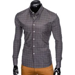 KOSZULA MĘSKA W KRATĘ Z DŁUGIM RĘKAWEM K425 - GRAFITOWA. Brązowe koszule męskie marki Ombre Clothing, m, z aplikacjami, z kontrastowym kołnierzykiem, z długim rękawem. Za 59,00 zł.