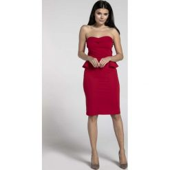 Czerwona Koktajlowa Sukienka Gorsetowa z Półbaskinką. Czarne sukienki balowe marki Molly.pl, na wesele, l, z gorsetem, midi, baskinki. W wyprzedaży za 106,86 zł.