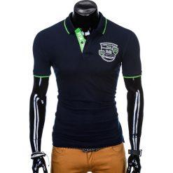KOSZULKA MĘSKA POLO Z NADRUKIEM S905 - GRANATOWA. Niebieskie koszulki polo Ombre Clothing, m, z nadrukiem. Za 55,00 zł.