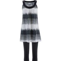 Sukienka + legginsy rybaczki (2 części) bonprix czarno-biały z nadrukiem + czarny. Czarne legginsy we wzory bonprix. Za 74,99 zł.