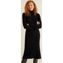 Mango - Sukienka Largi. Czarne długie sukienki marki Mango, na co dzień, l, z bawełny, casualowe, z golfem, z długim rękawem, dopasowane. Za 139,90 zł.