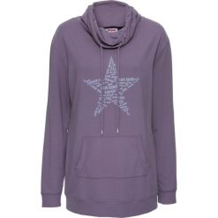 Bluzy damskie: Bluza z dużym kołnierzem bonprix matowy lila