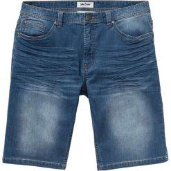 Bermudy dresowe w optyce dżinsu Regular Fit bonprix niebieski. Czarne bermudy męskie marki bonprix, w paski, z dresówki. Za 89,99 zł.