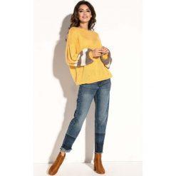 Żółty Oversizowy Sweter z Bufiastym Rękawem w Paski. Żółte swetry oversize damskie Molly.pl, uniwersalny, z jeansu. Za 126,90 zł.