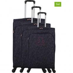 """Walizki (3 szt.) """"Lulu Cactus"""" w kolorze fioletowym. Czarne walizki marki Jack Wolfskin, w paski, z materiału, małe. W wyprzedaży za 673,95 zł."""