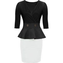 Sukienka z baskinką bonprix czarno-biały. Czarne sukienki balowe marki Cropp, l. Za 149,99 zł.