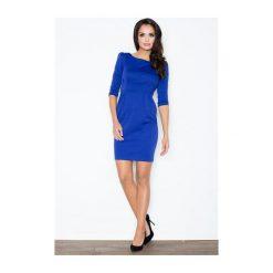 Sukienka Rachela M082 Niebieska. Białe sukienki na komunię marki BIALCON, na imprezę, w koronkowe wzory, z koronki, z kopertowym dekoltem, midi, kopertowe. Za 99,00 zł.