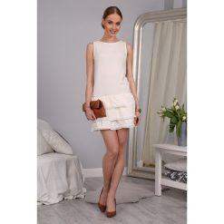 Sukienka Kremowa 9847. Białe sukienki Fasardi, xl. Za 49,00 zł.