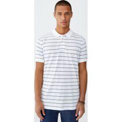 Koszulka polo z piki w marynarskie paski. Zielone koszulki polo Pull&Bear, m, w paski, z krótkim rękawem. Za 59,90 zł.