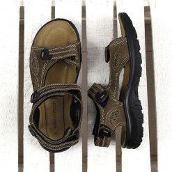 Sandały męskie: Brązowe sandały męskie skórzane Marco Tozzi 18400-28