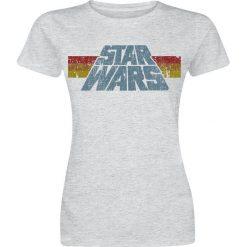 Star Wars Vintage 77 Koszulka damska odcienie szarego. Szare bluzki damskie Star Wars, xxl, w kolorowe wzory, eleganckie, z dekoltem w łódkę. Za 74,90 zł.